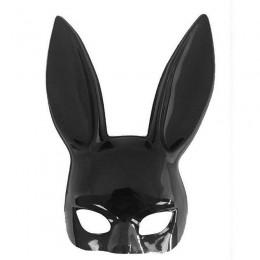 Черная маска зайчик глянцевая