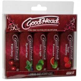 Смазка-гель для орального секса Doc Johnson GoodHead 5 вкусов: клубника, вишня, арбуз, мята, яблоко