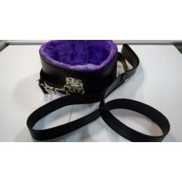 Фиолетово-черный мягкий ошейник с мехом