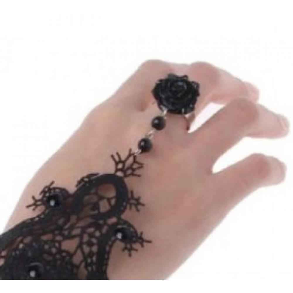 Браслет кружевной черного цвета с кольцом - Роза фото 3
