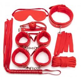 БДСМ-набор из эко-кожи с мехом красного цвета