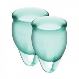 Набор менструальных чаш Satisfyer Feel Confident (dark green), 15мл и 20мл, мешочек для хранения