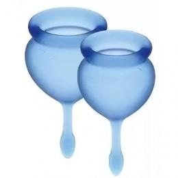 Набор менструальных чаш Satisfyer Feel Good (dark blue),15мл и 20 мл, мешочек для хранения