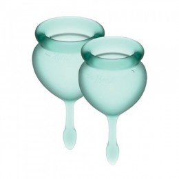 Набор менструальных чаш Satisfyer Feel Good (dark green),15мл и 20 мл, мешочек для хранения