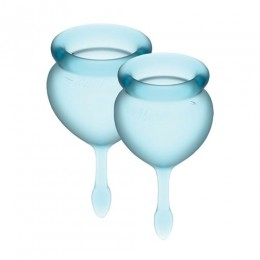 Набор менструальных чаш Satisfyer Feel Good (light blue),15 мл и 20 мл, мешочек для хранения