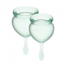 Набор менструальных чаш Satisfyer Feel Good (light green),15 мл и 20 мл, мешочек для хранения