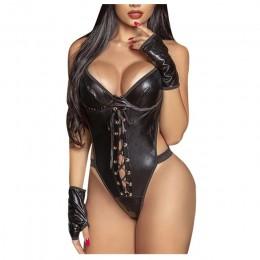 Сексуальное черное белье из кожзама, L