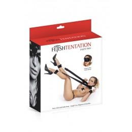 Фиксаторы для ног и рук Fetish Tentation Neck, Wrist and Ankle Strap с маской на глаза
