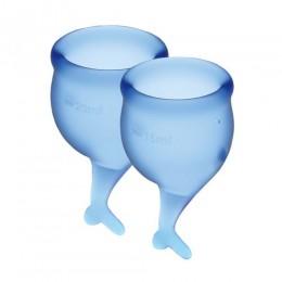 Набор менструальных чаш Satisfyer Feel Secure (dark blue), 15 мл и 20 мл, мешочек для хранения