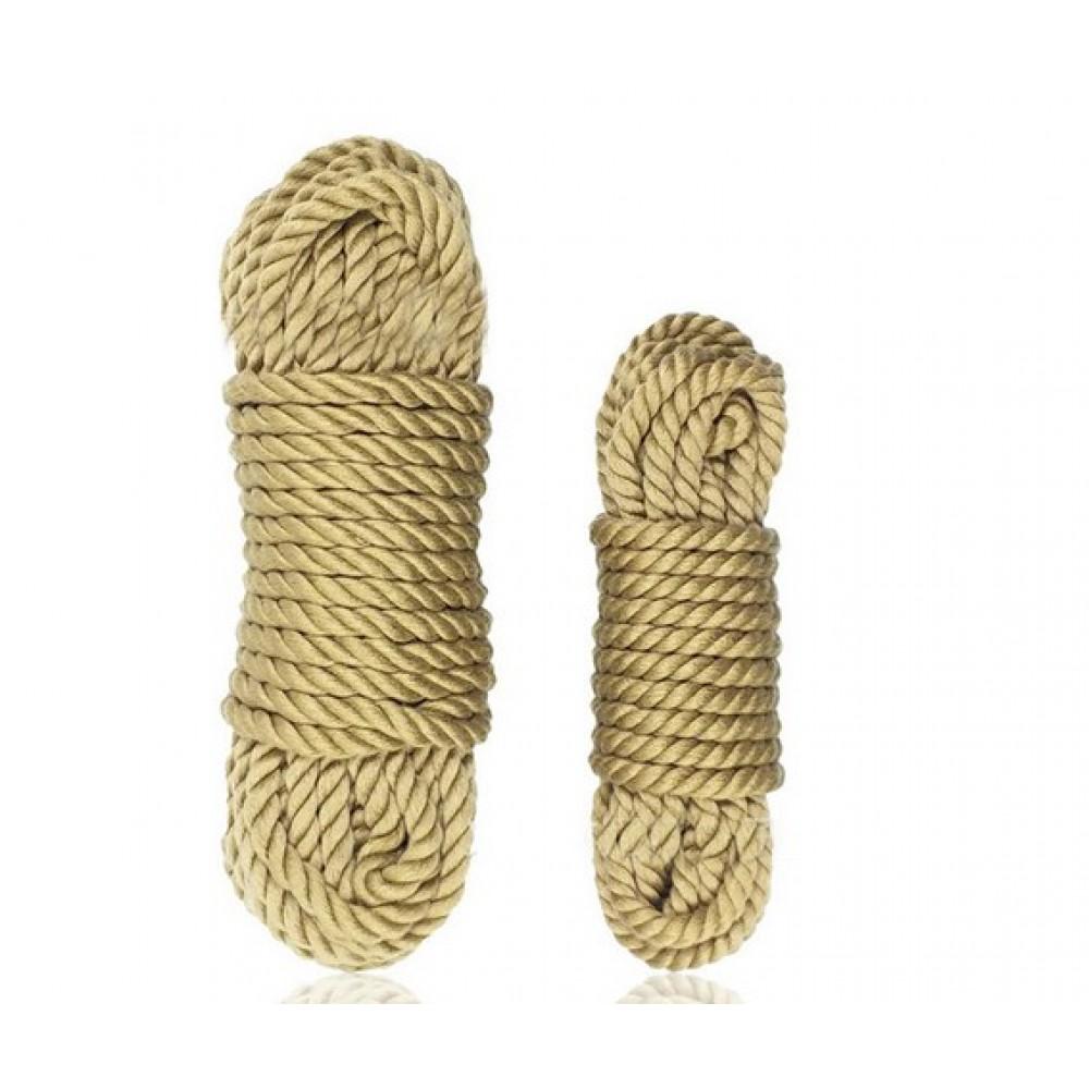 Бондажная хлопковая веревка бежевого цвета 5 м фото 1