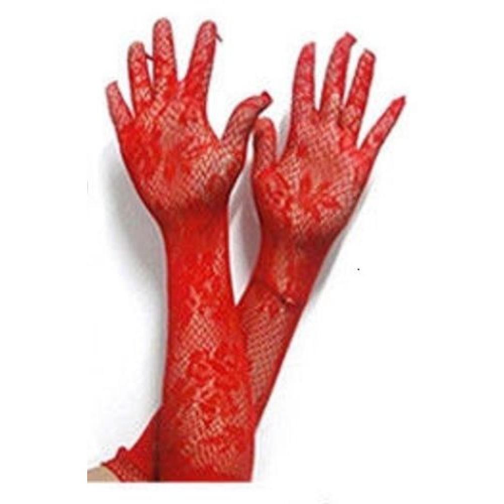 Перчатки сетка, красные, для Вашего сексапильного образа! фото 2