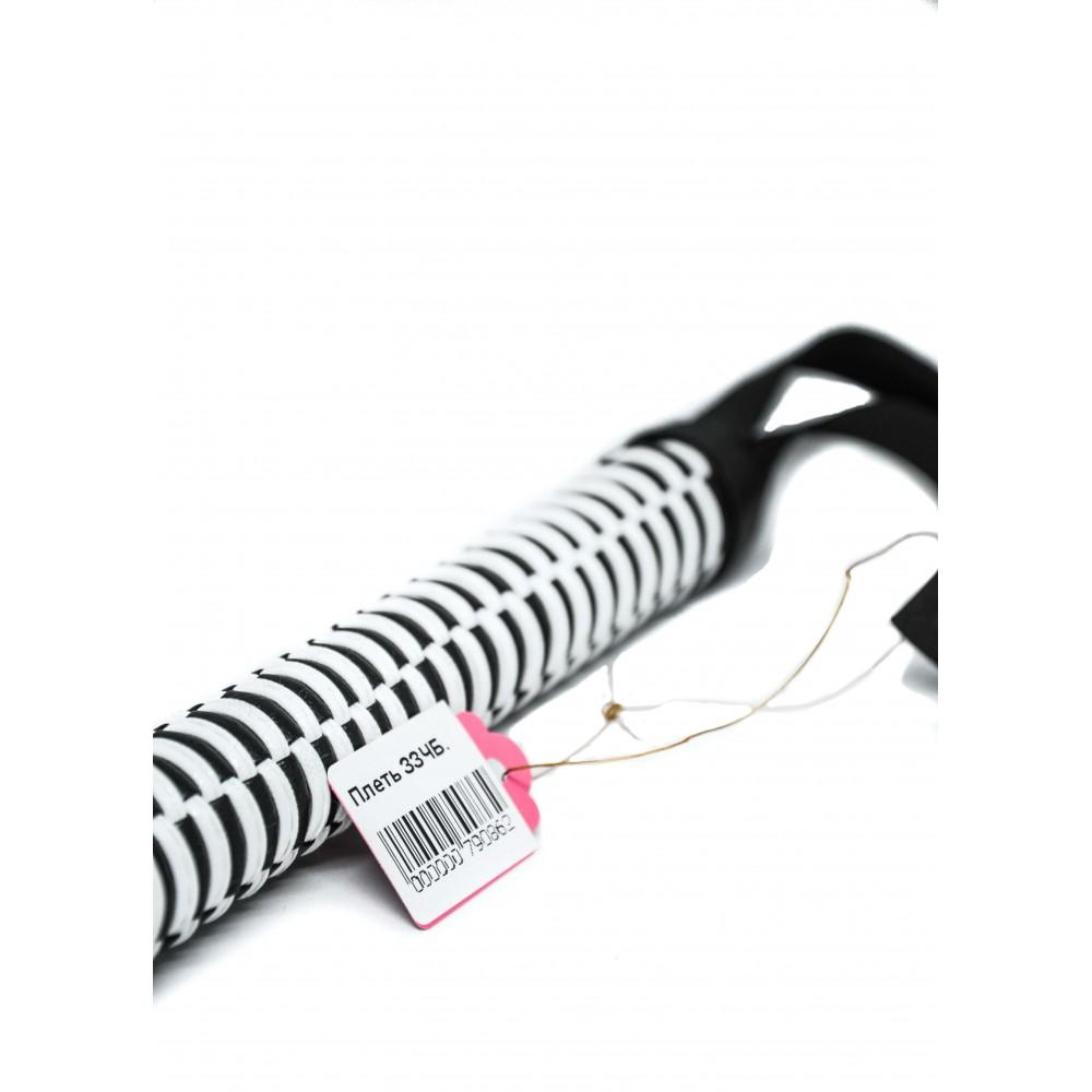 Чувственная плётка с серо-белой рукоятью, кожзам фото 2