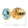 Ребристая анальная пробка - Золото, S фото 4