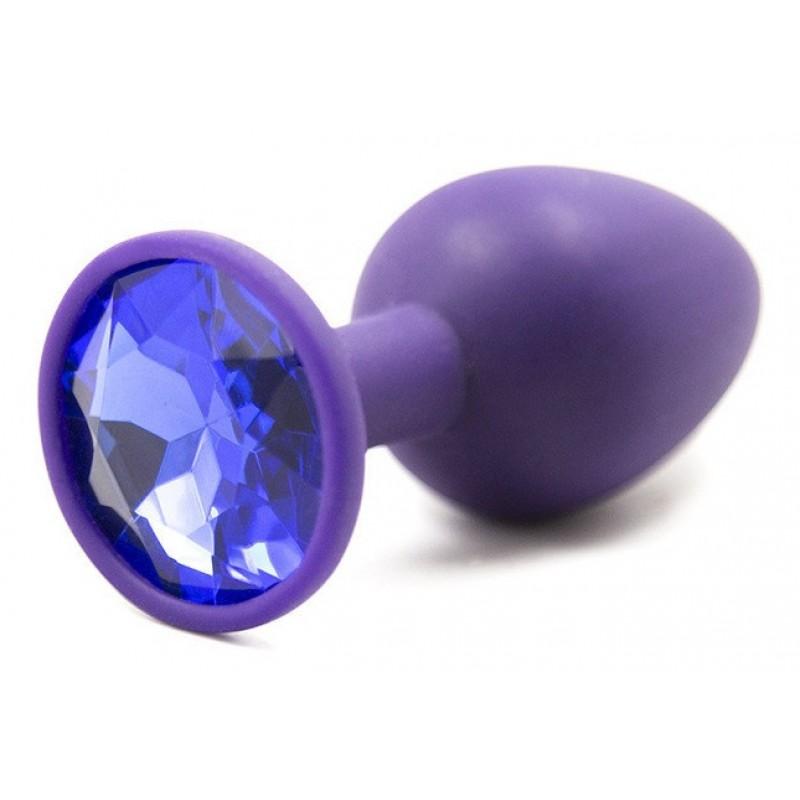 Фиолетовая анальная пробка со стразом, S