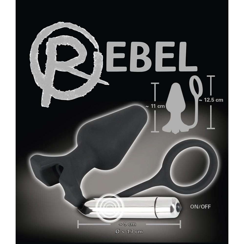 Анальная пробка с вибрацией и эрекционным кольцом Rebel  фото 1