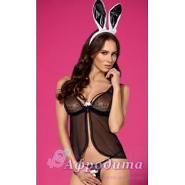 Комплект белья Obsessive 815-CST- bunny costume S/M черно-белый