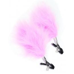Зажимы для сосков с розовыми перьями для нежных женщин