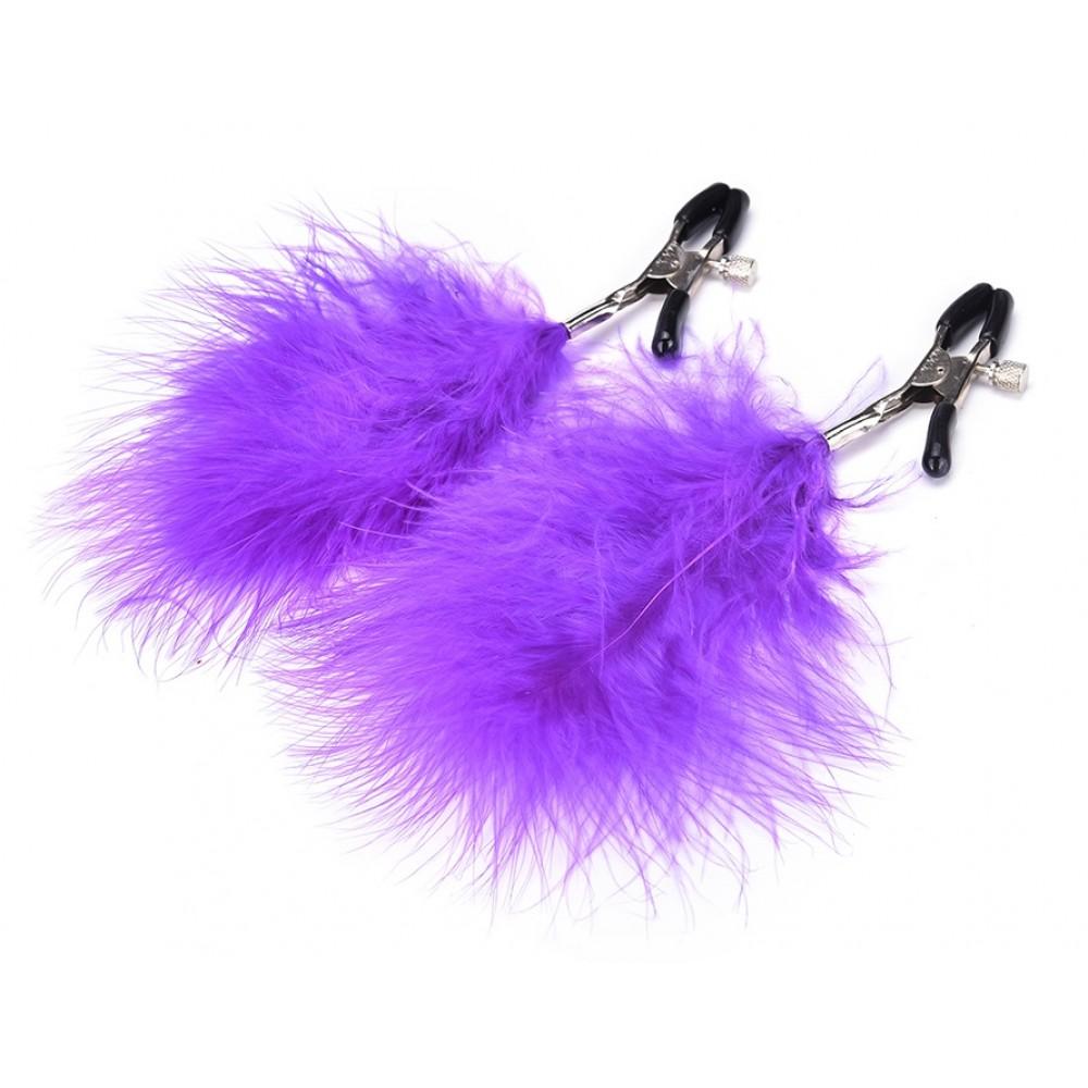 Зажимы для сосков с фиолетовыми перьями для дам с отменным вкусом фото 1