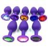 Фиолетовая анальная пробка со стразом, S фото 2