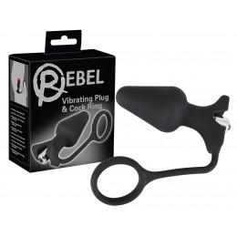 Анальная пробка с вибрацией и эрекционным кольцом Rebel