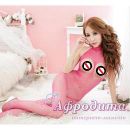 Розовая сетка с открытой грудью