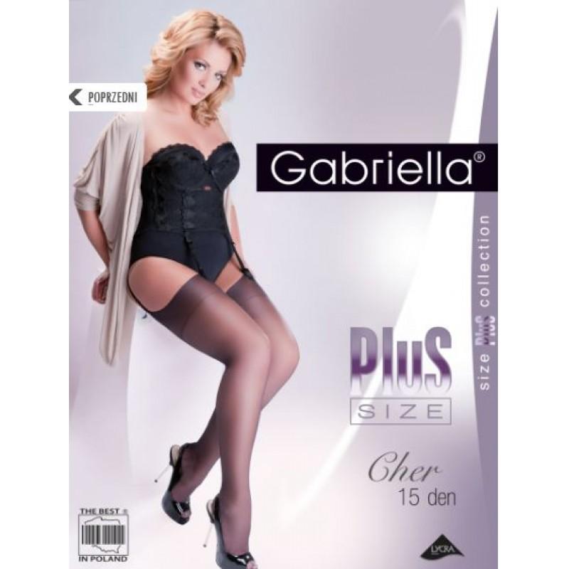 Чулки под пояс Gabriella Calze Cher 15 den plus Size 5/6 черные