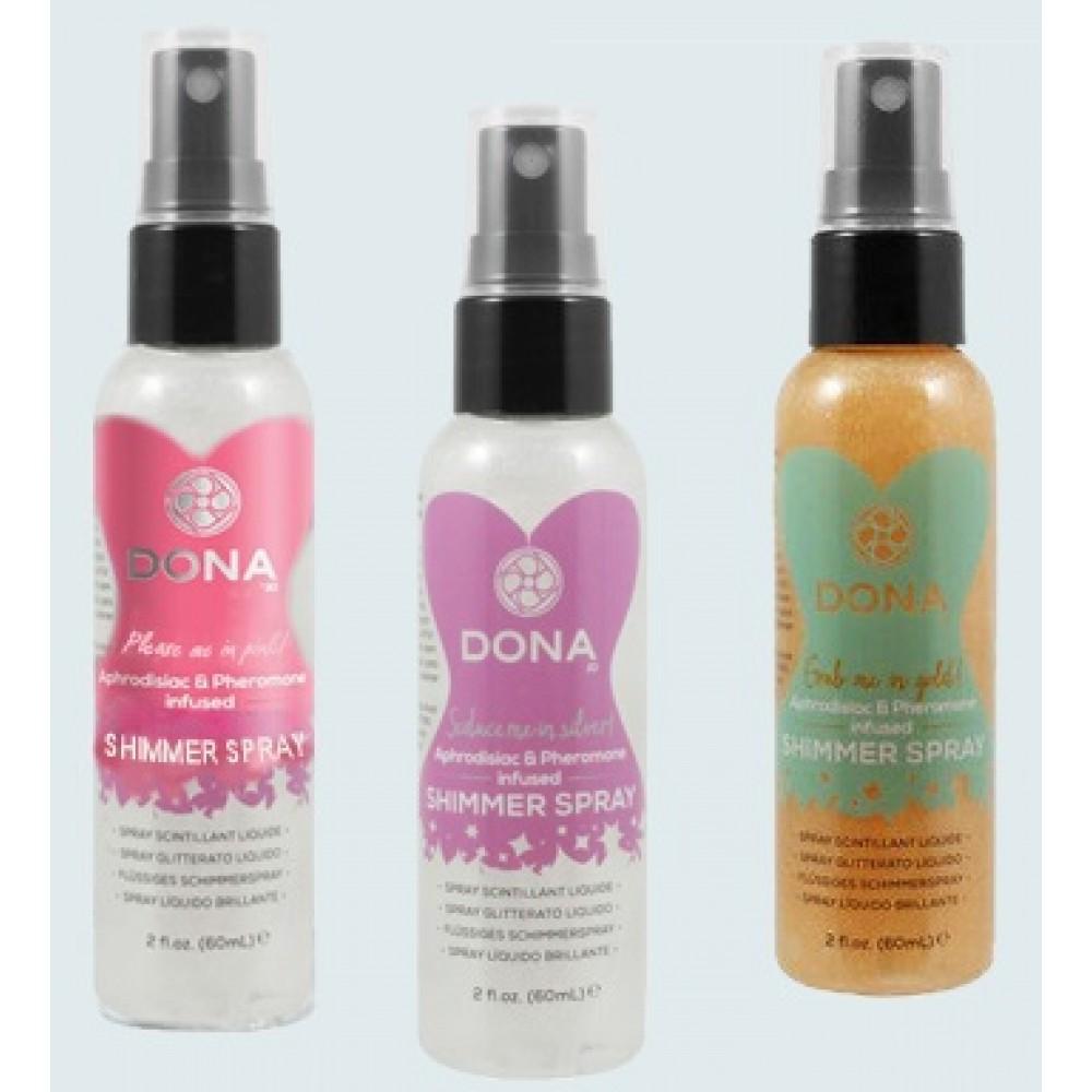 Спрей для тела с блестками JO Dona Shimmer Spray silver, 60 мл фото 1