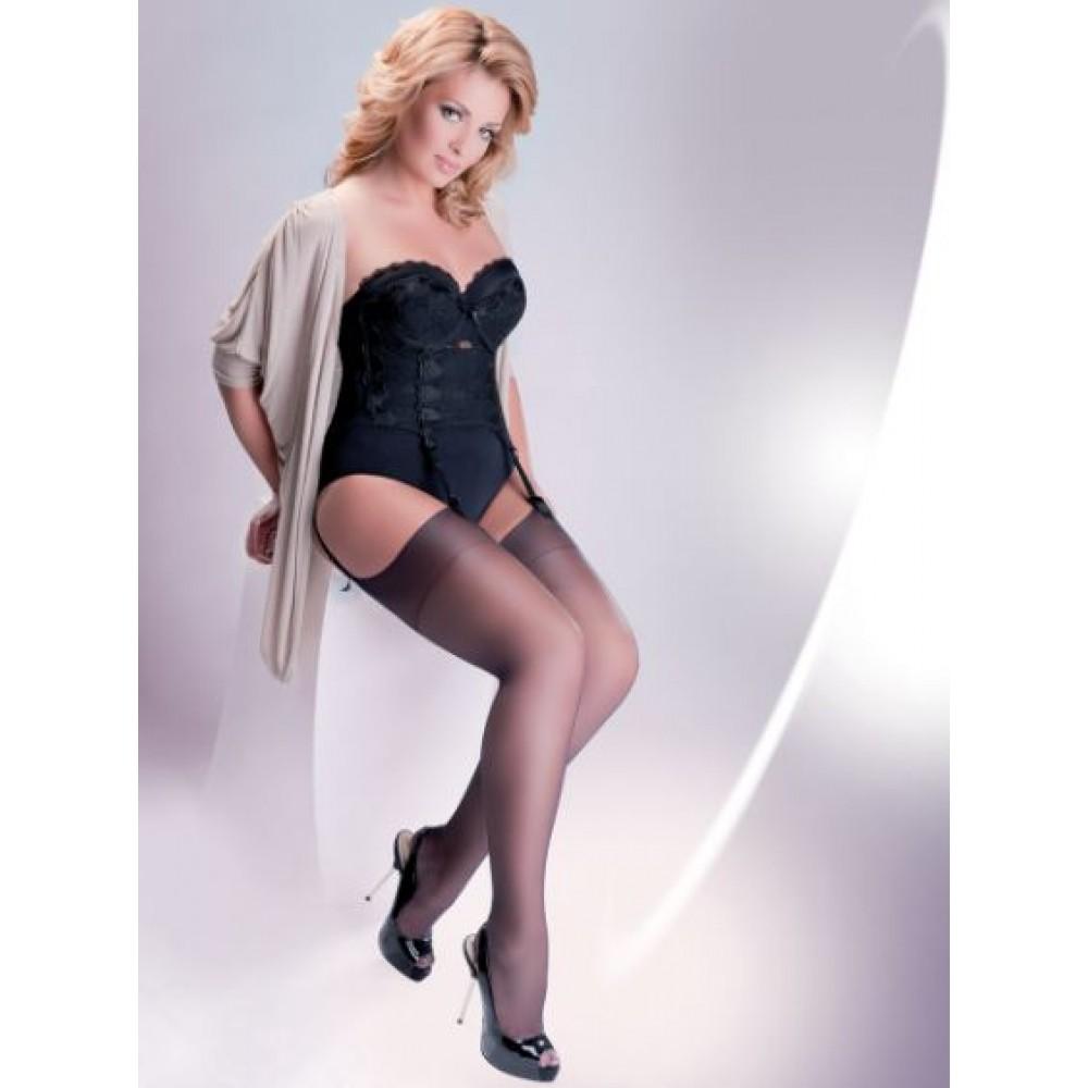 Чулки под пояс Gabriella Calze Cher 15 den plus Size 5/6 черные фото 3