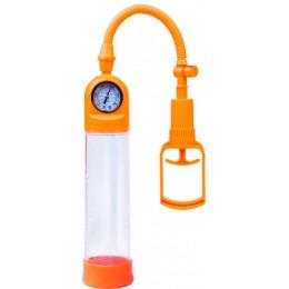 Вакуумная помпа для увеличения члена A-TOYS Penis Pump Orange совмещает приятное с полезным