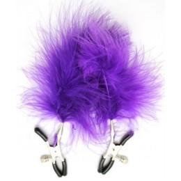 Зажимы для сосков с фиолетовыми перьями для дам с отменным вкусом