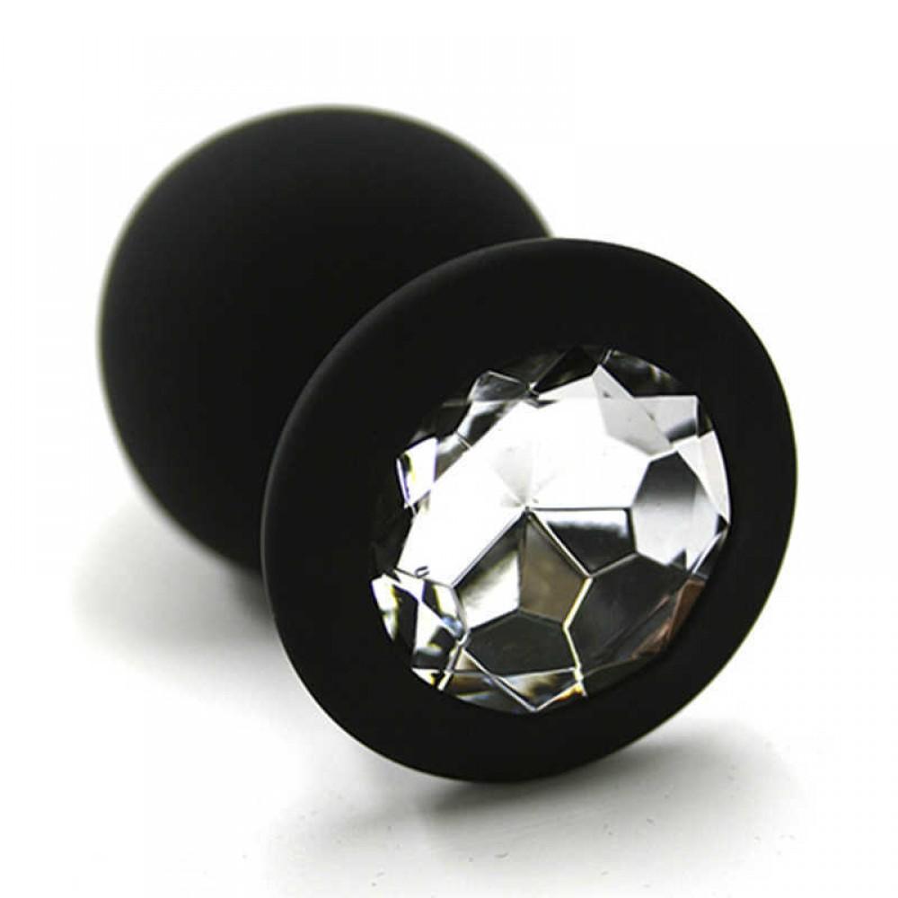 Черная силиконовая пробка с камнем, М фото 3