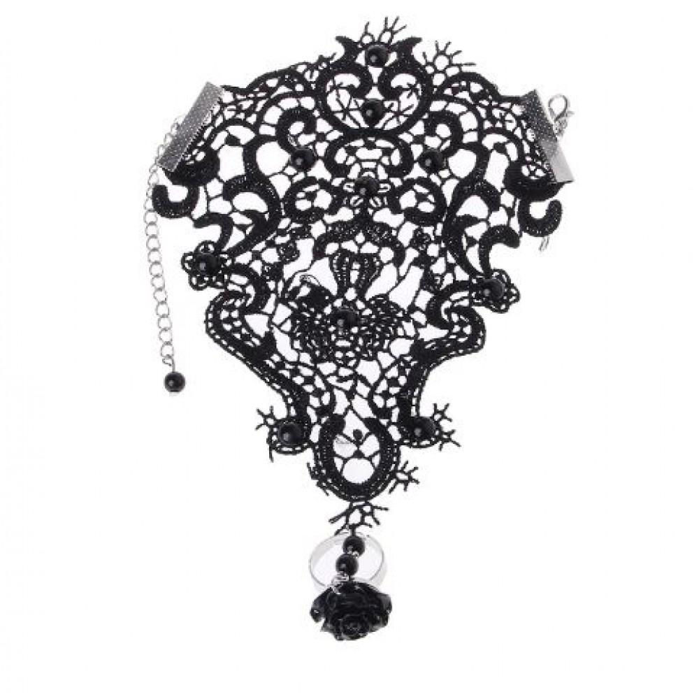 Браслет кружевной черного цвета с кольцом - Роза фото 2