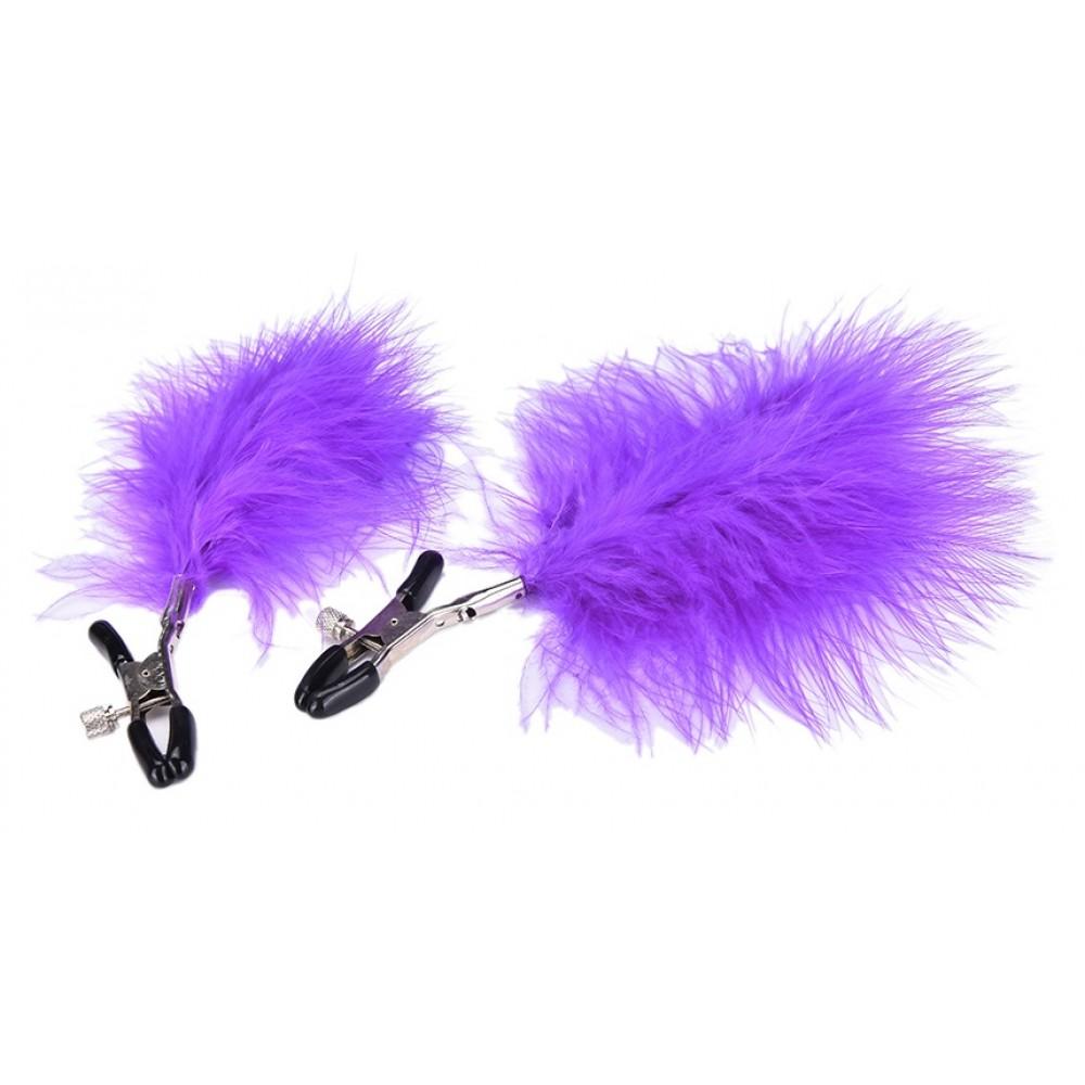 Зажимы для сосков с фиолетовыми перьями для дам с отменным вкусом фото 2