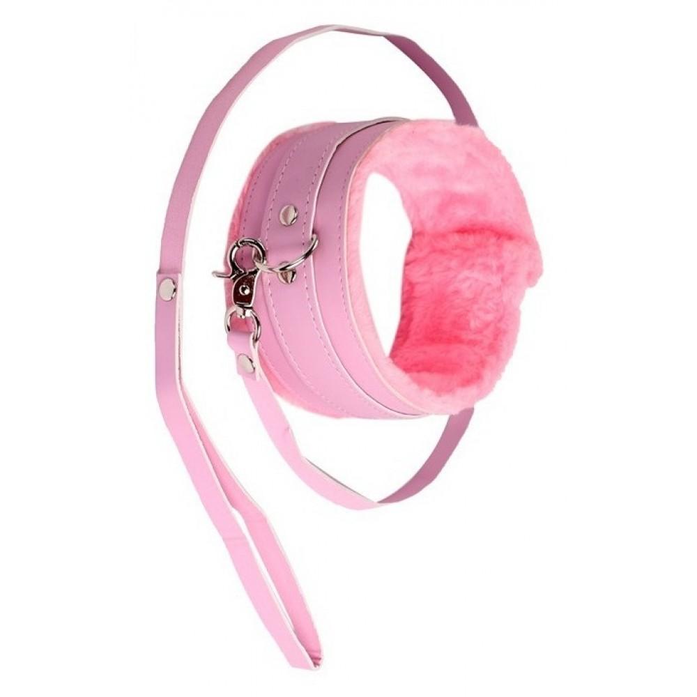 Ошейник с мехом розового цвета фото 1