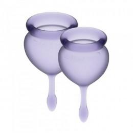 Набор менструальных чаш Satisfyer Feel Good (lila), 15 мл и 20 мл, мешочек для хранения